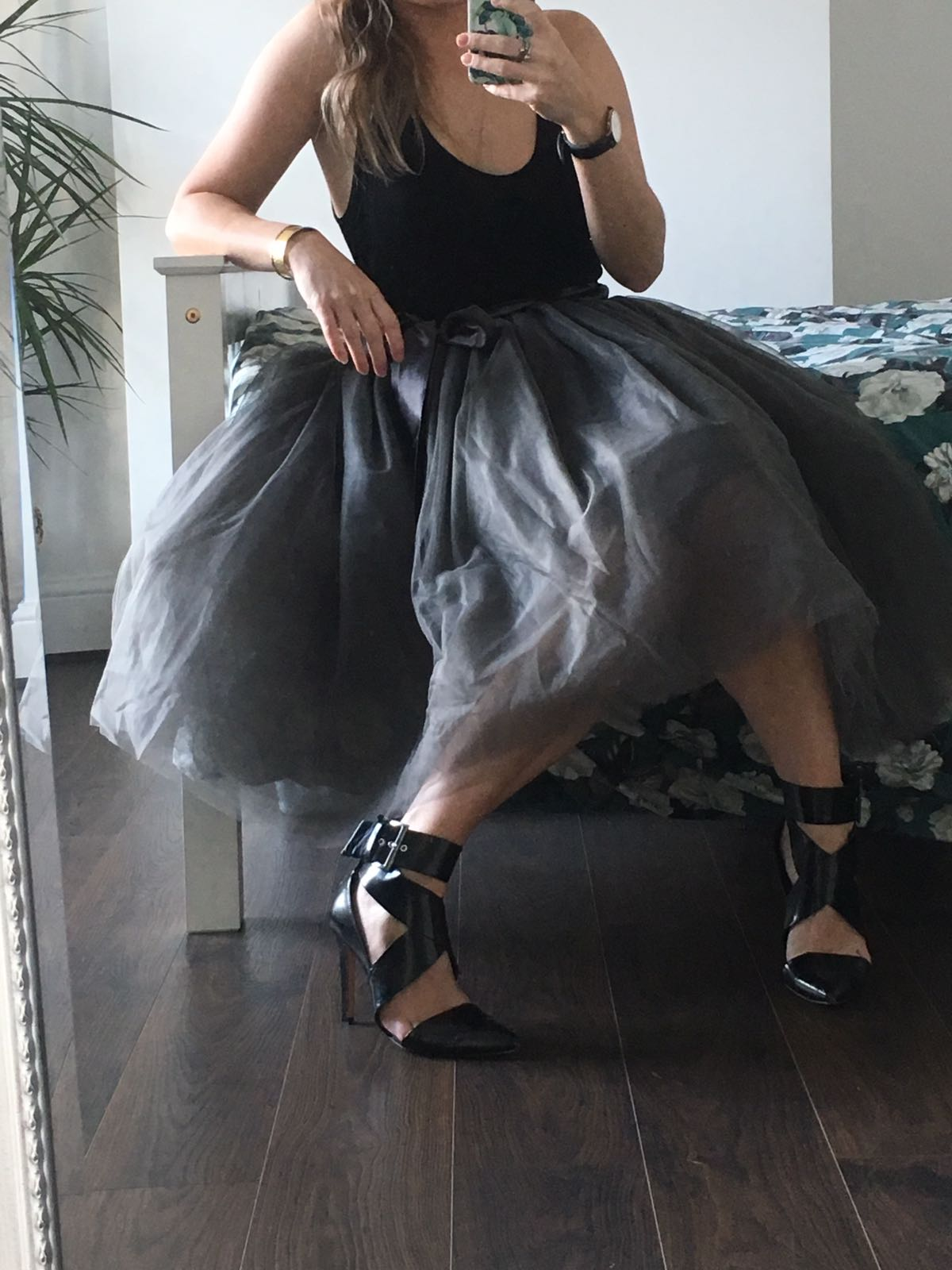 505547d1adead8 Charcoal Midi Tulle Tutu Skirt - Elsie's Attic