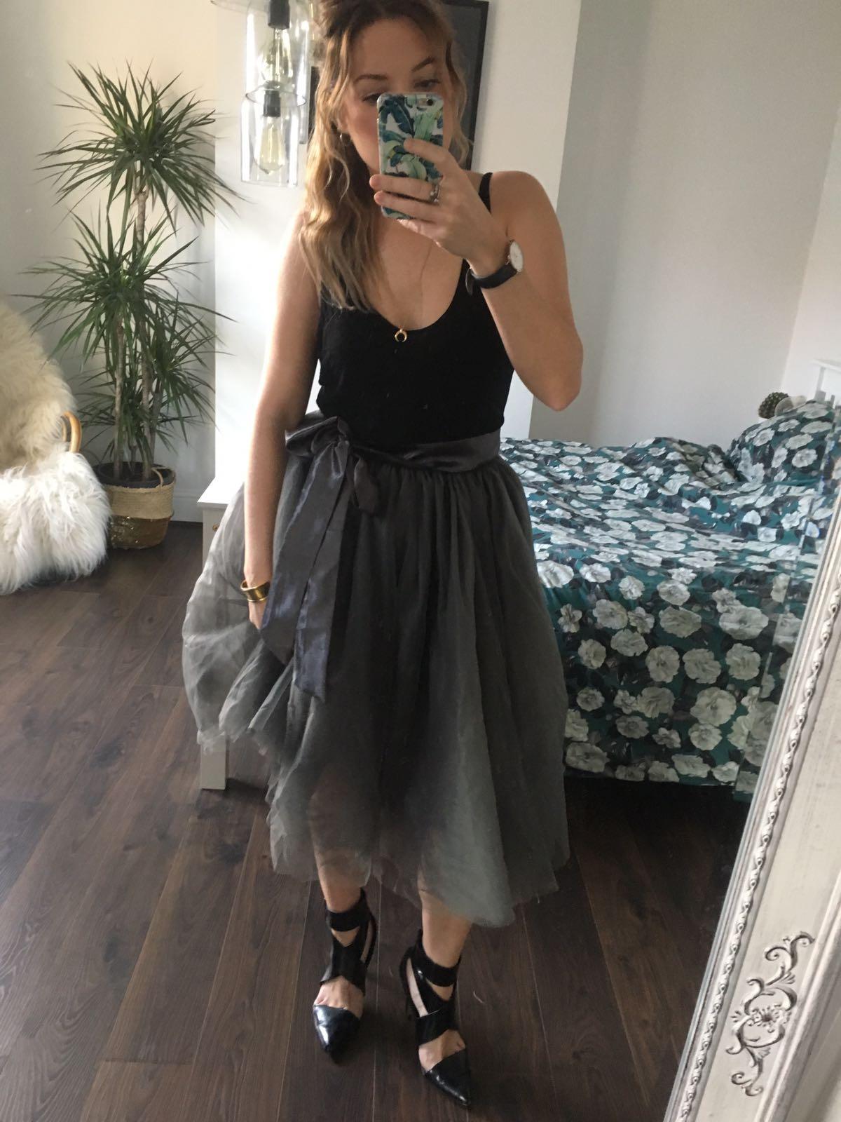 4367c02a576 Charcoal Midi Tulle Tutu Skirt - Elsie s Attic