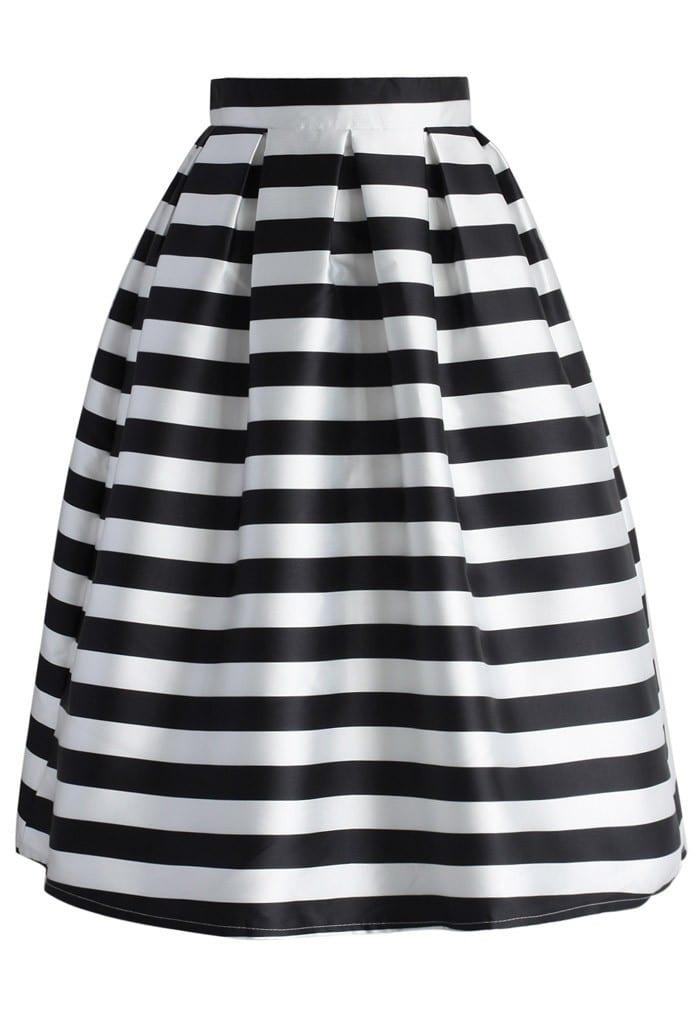 monochrome stripe midi skirt elsie s attic