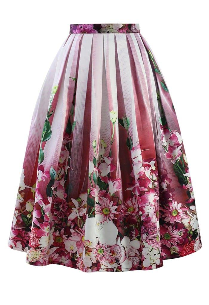 add9b518f56 Hot Pink Floral Midi Skirt - Elsie s Attic
