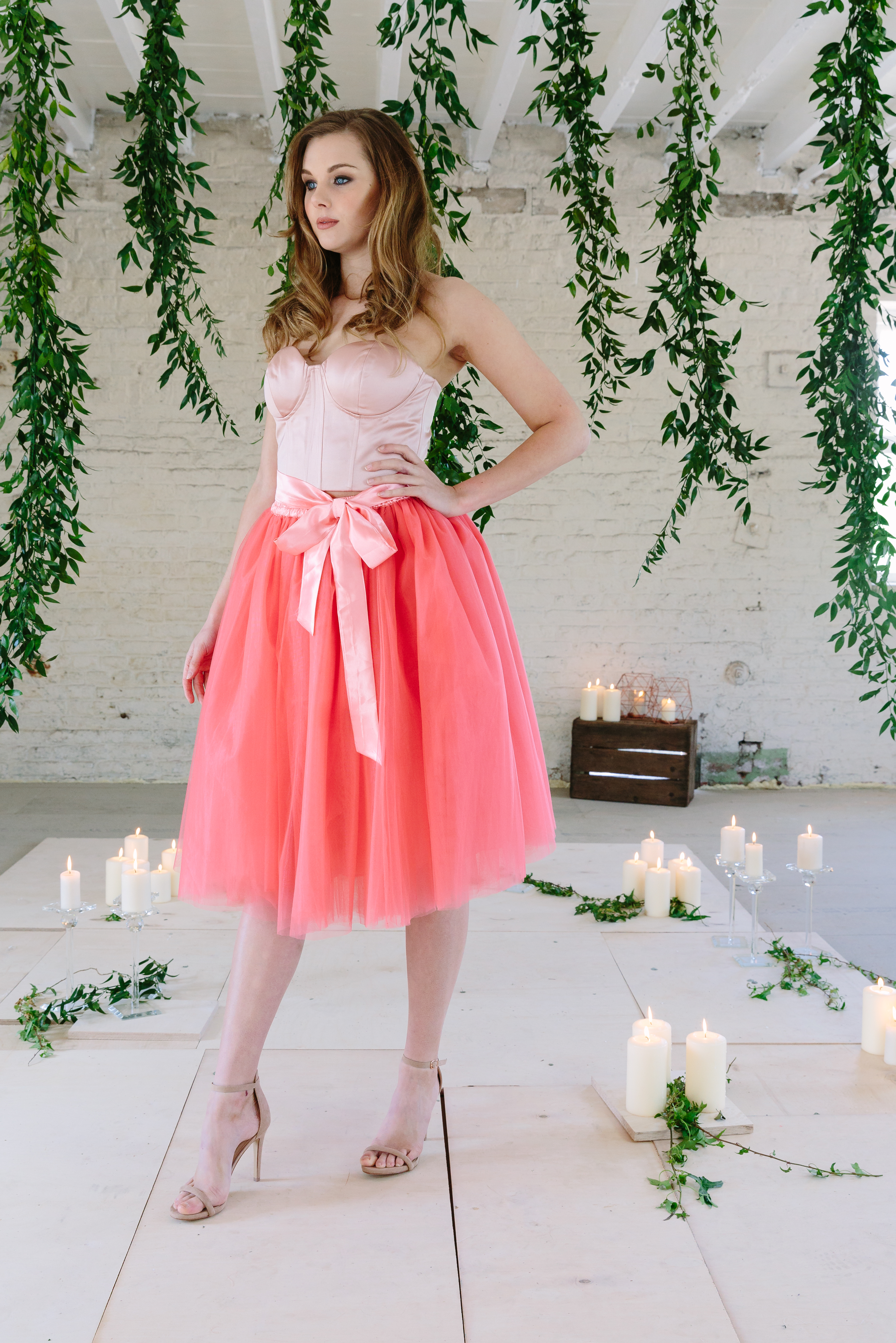 8d7af97b2d3 Size 8 - Coral Midi Six Layer Tulle Skirt - Elsie s Attic
