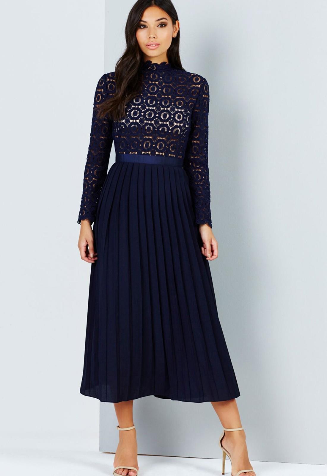 Navy Crochet Lace Midi Dress With Pleated Skirt - Elsieu0026#39;s ...