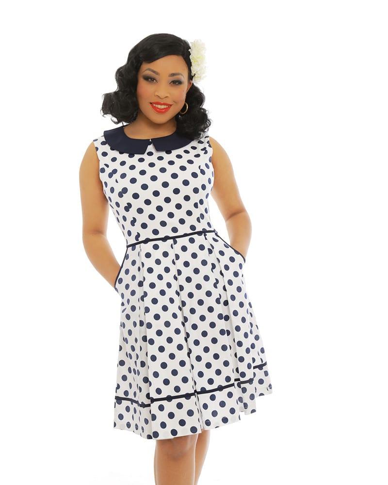 Navy Blue Polka Dot Dress - Elsie's Attic