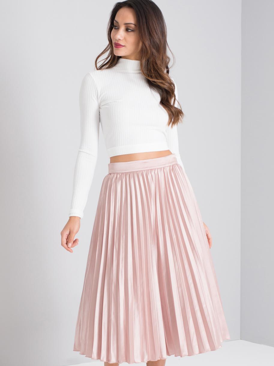 Pink Metallic Pleated Midi Skirt - Elsieu0026#39;s Attic