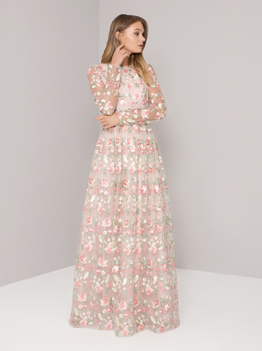 Chi Chi Cina – Nude Floral Embroidered Maxi