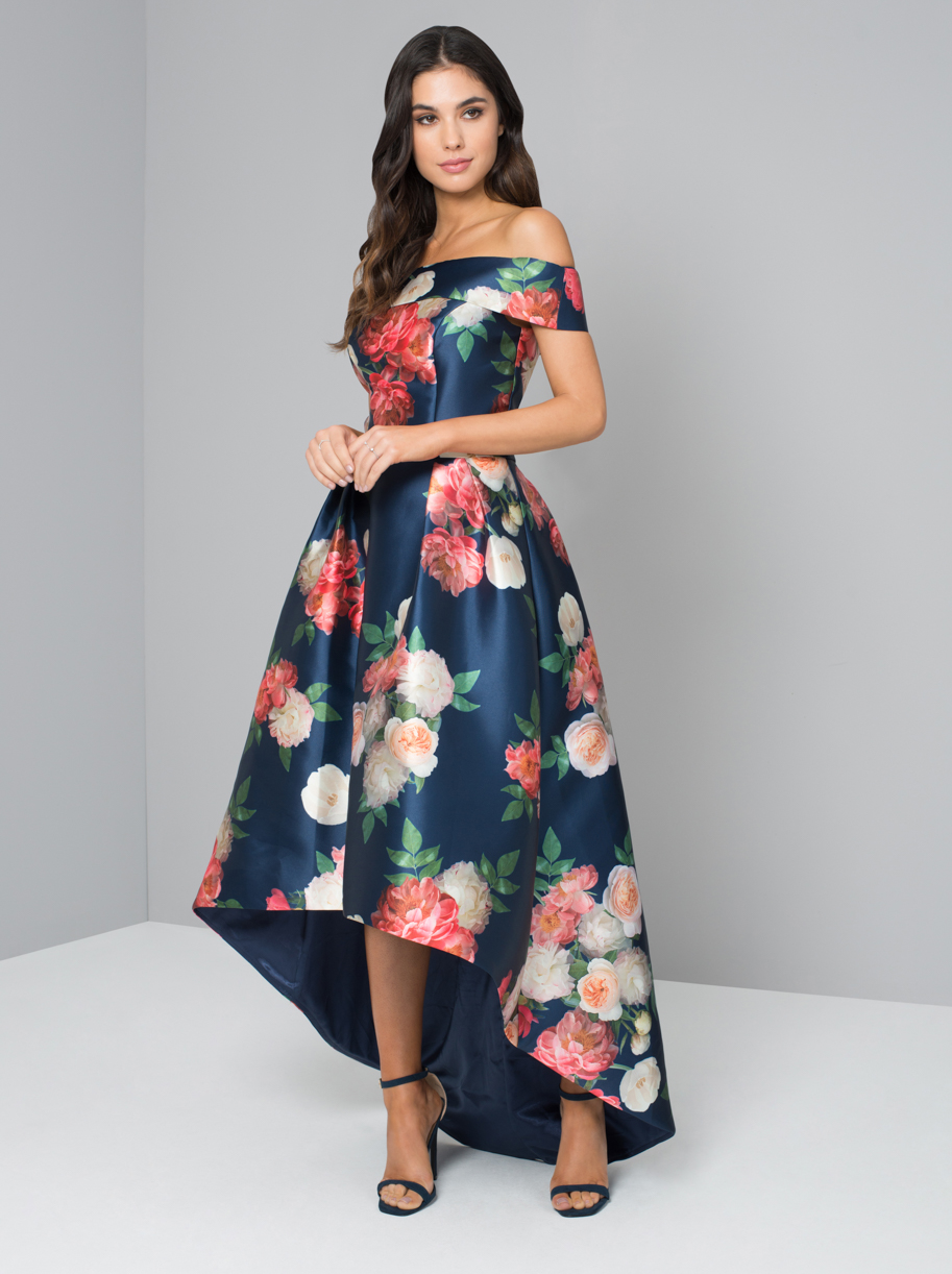 Chi Chi Kerris Navy Floral Bardot Style Dipped Hem Dress