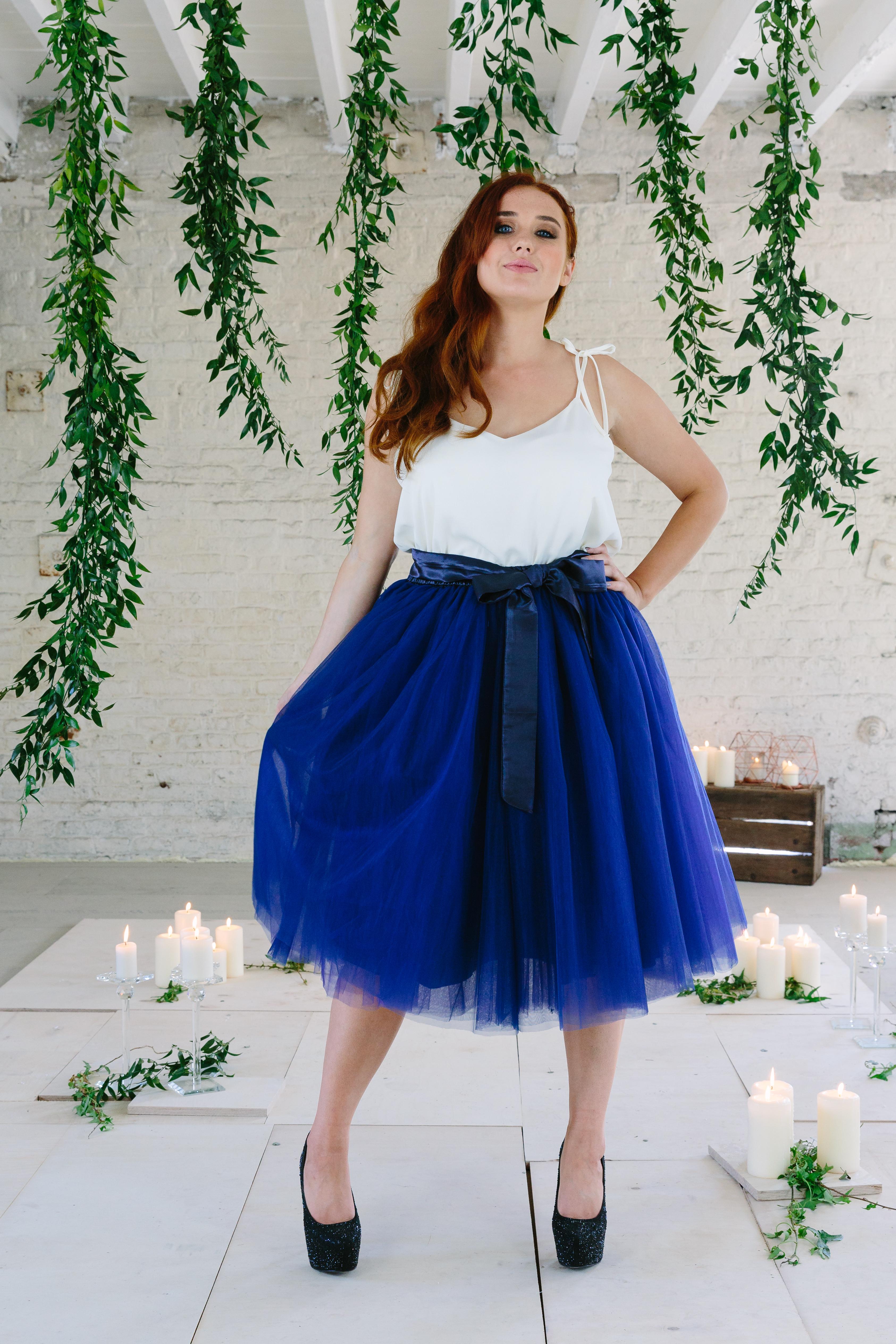 9724ff49e Navy Blue Midi Tulle Tutu Skirt - Elsie's Attic