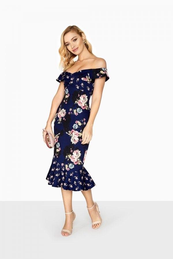 e710cd5c5cb56 SIZE 8 - Navy Mixed Floral Print Bardot Style Wiggle Dress - Elsie s ...