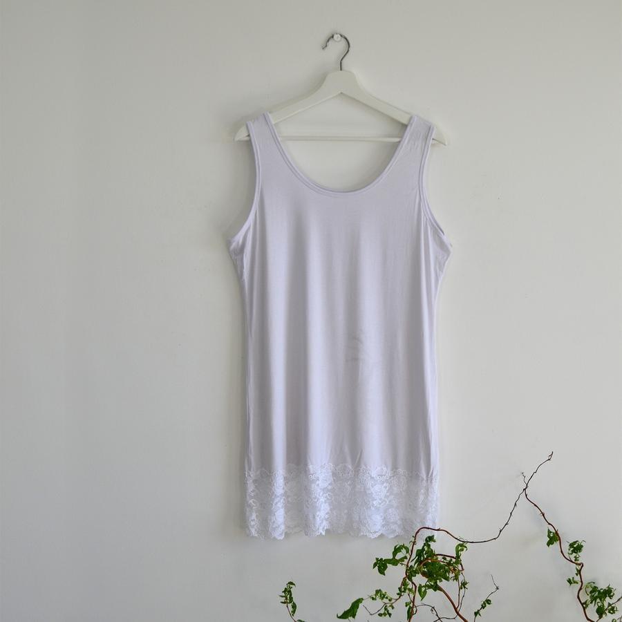 7be75d9a9ce White Plus Size Stretchy Vest Top with Lace Hem - Elsie s Attic