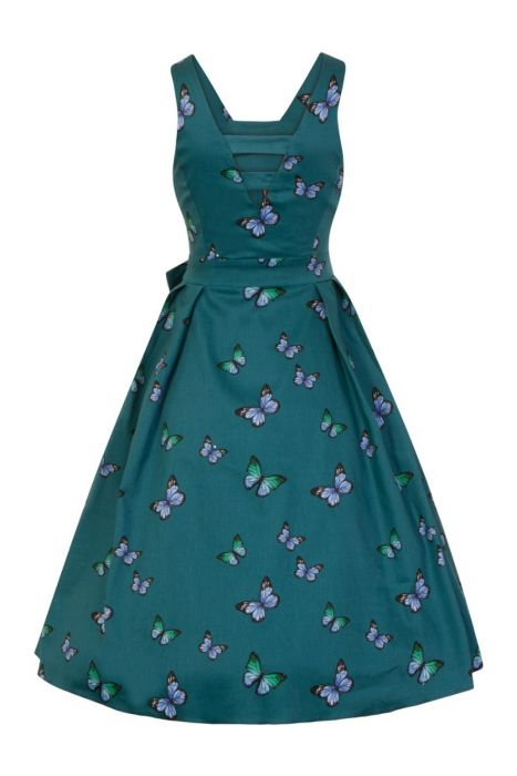 e09fb2d87df67 Teal Butterfly Sleeveless Vintage Style Dress Size 8 - Elsie s Attic