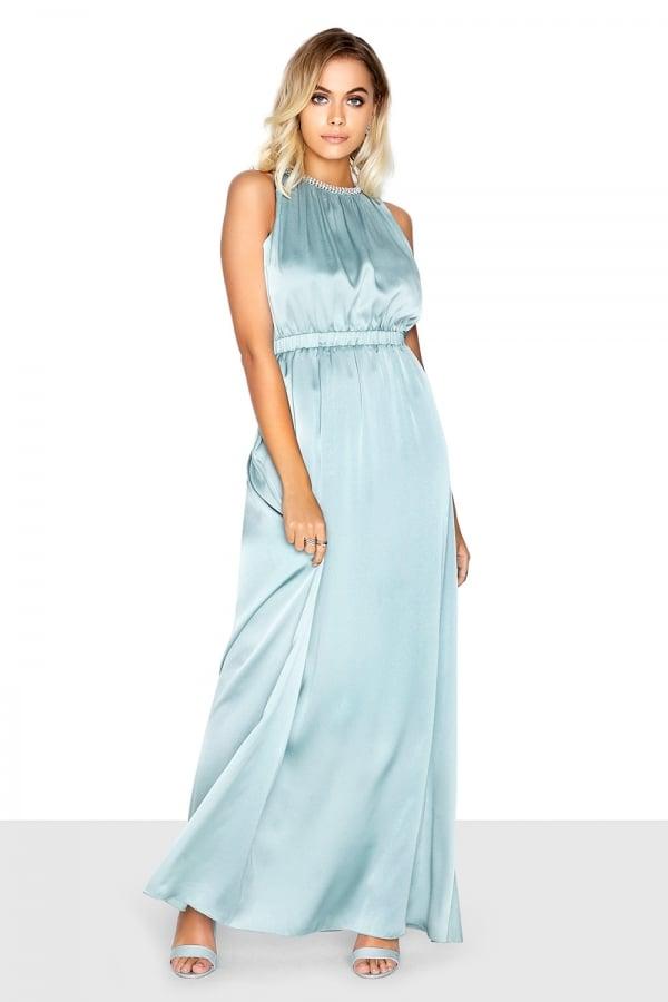 093be8c3f3f72 Cornflower Blue Satin Maxi With Pearl Collar Size 8 - Elsie s Attic