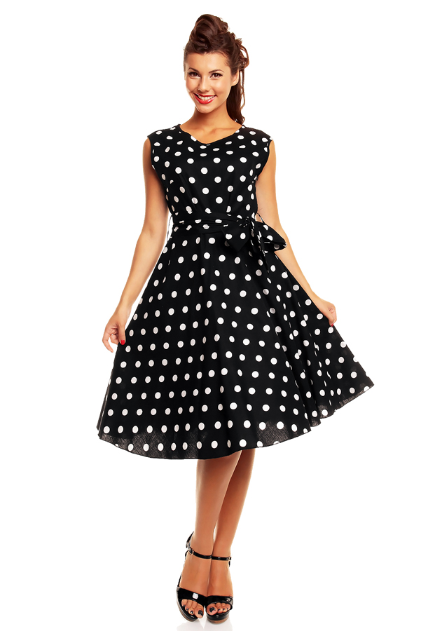 Black Audrey Style Dress With White Polka Dots Size 24 Elsies Attic
