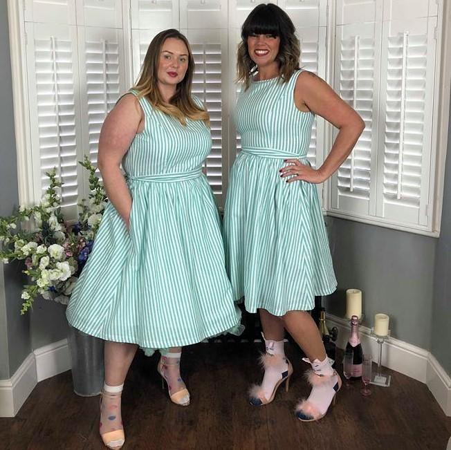 205072795c922 Mint Green Candy Stripe Audrey Dress Size 20 - Elsie s Attic