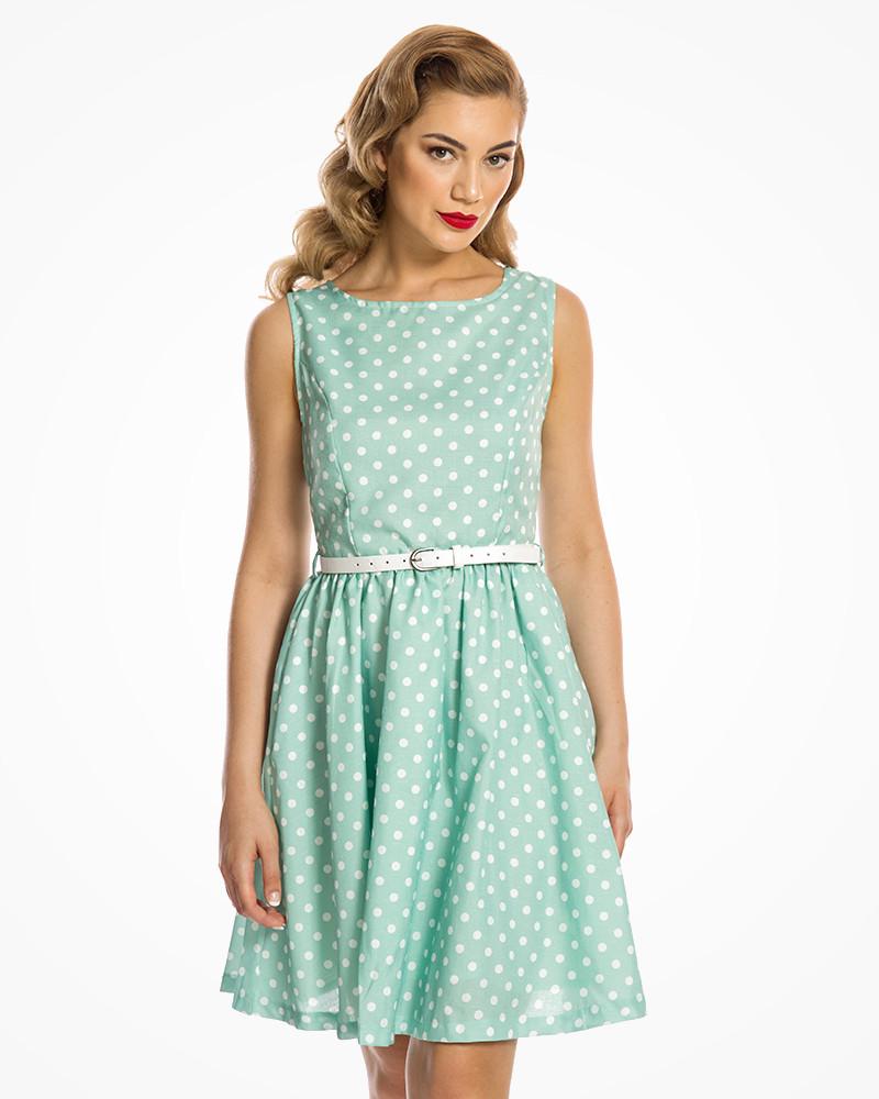 e204c5da8e3d5 Mint Polka Dot Audrey Dress SIZE 16 - Elsie s Attic