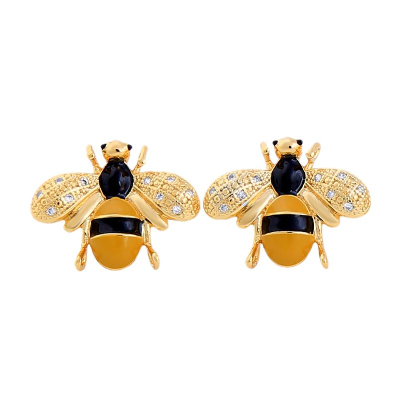 20ec2a1bd Gold Plated Bee Studs with Crystal Details - Elsie's Attic