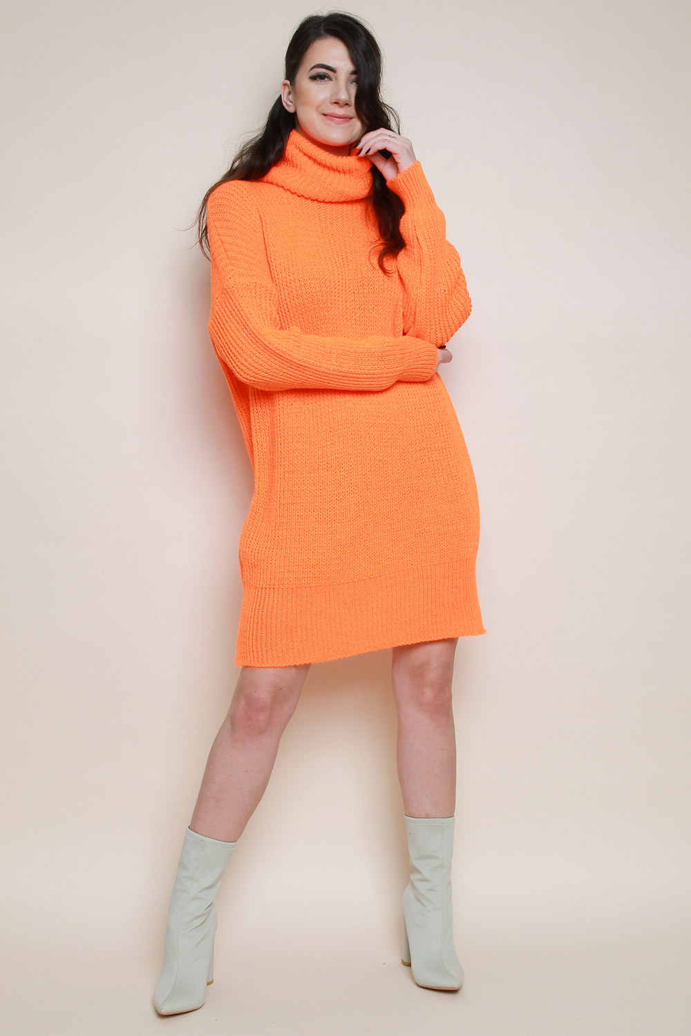 Neon Orange Cowl Neck Jumper Dress Elsies Attic