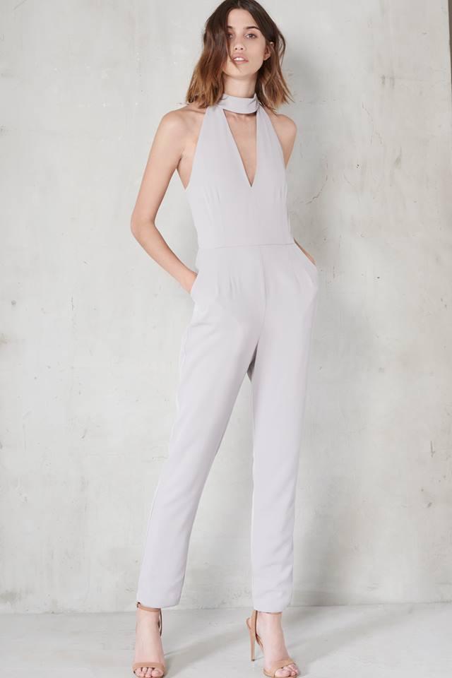 bc71c8f59a49 Grey Plunge Jumpsuit Size 6 - Elsie s Attic