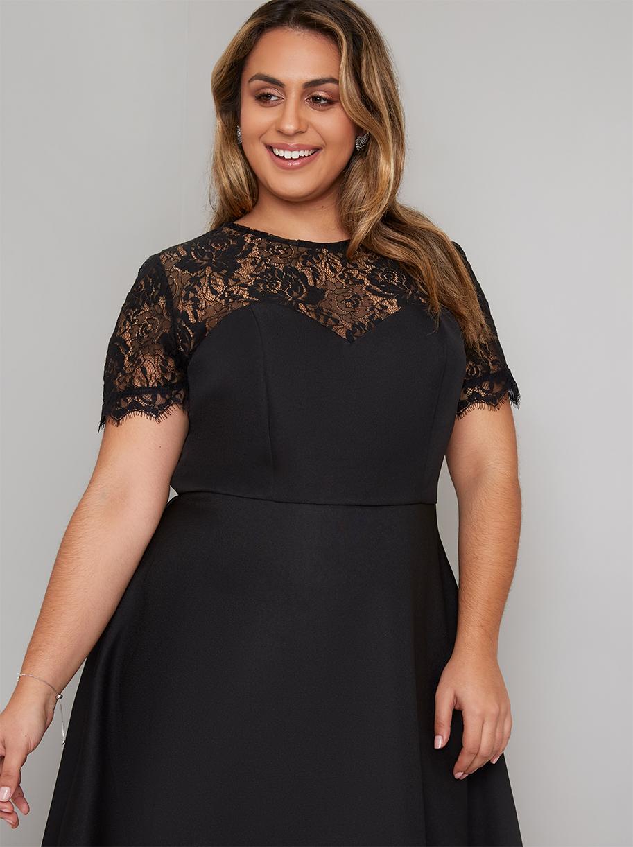 a98a244b89bee Black Lace Dipped Hem Dress - SIZE 20 - Elsie s Attic