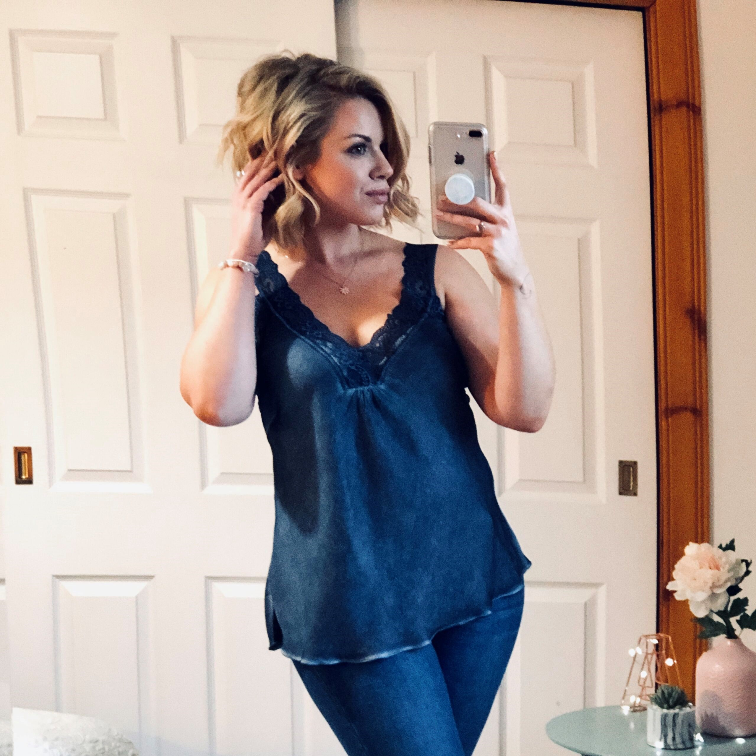e441547cfbe98 Charcoal Denim Silky Cami Vest Top with Lace Hem - Elsie s Attic