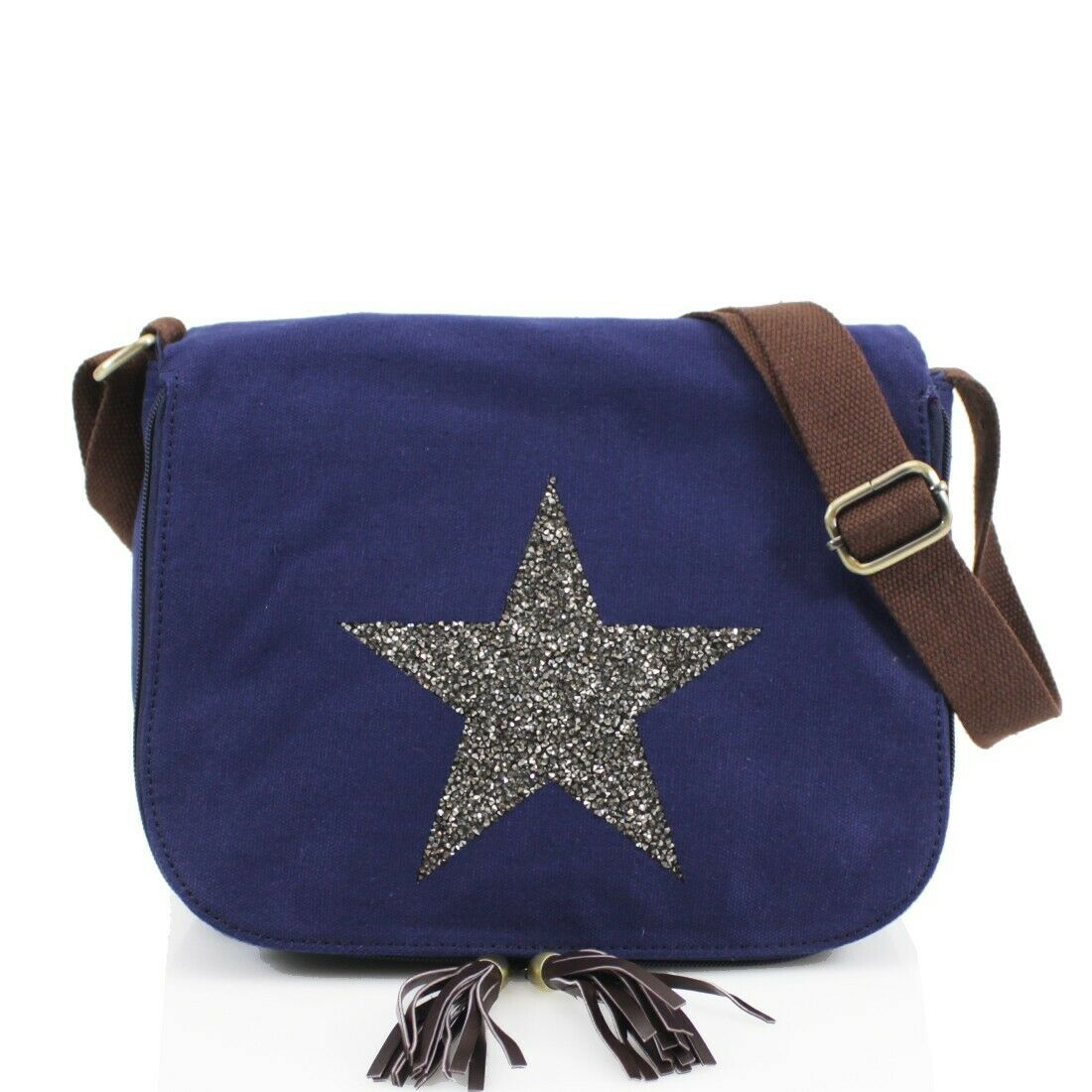 0fc86939b Navy Crystal Encrusted Star Saddle Bag - Elsie's Attic
